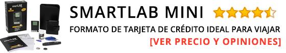 smartLAB mini (mmol/L) medidor de glucosa en la sangre en formato de tarjeta de crédito ideal para viajar Glucometro para diabéticos con smartLAB